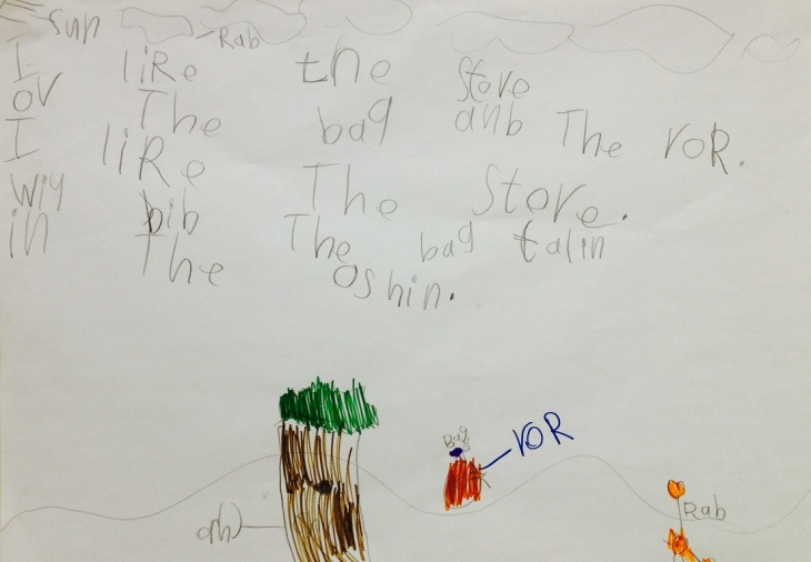 'I like the story of the bug and the rock. I like the story with bug. The bug fell in the ocean'