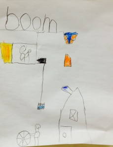 I liked this boy's alternative explanation for the BOOM at the beginning of the story. In his version, the noise is made by bricks falling on a house.