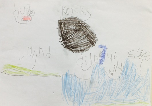 My son had a go at drawing, and writing the label for, the barnacle in his picture. It's the blue thing in the middle.